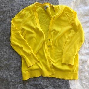 GAP Yellow V Neck Cotton Cardigan Size Small